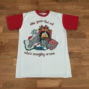 Vintage 90's Naughty Nice Cat Christmas T-Shirt